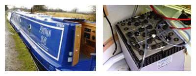 A canal boat fitted with narrow boat batteries